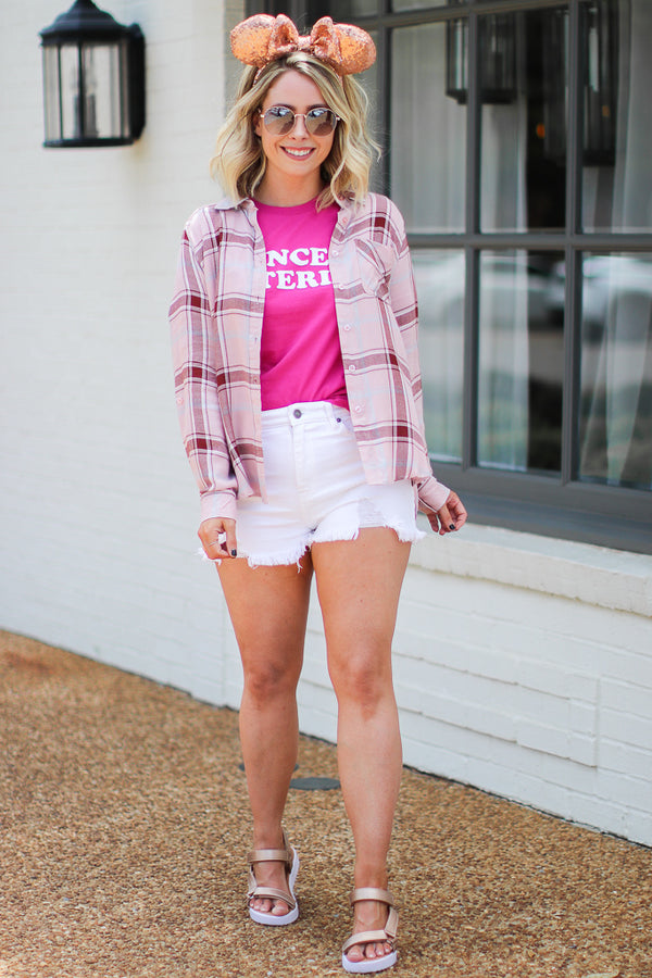 Pink / S Mirin Plaid Flannel Top - Pink | CURVE - Madison + Mallory