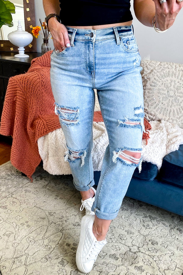 0 / Light Basic Idea Distressed Boyfriend Jeans - Madison and Mallory