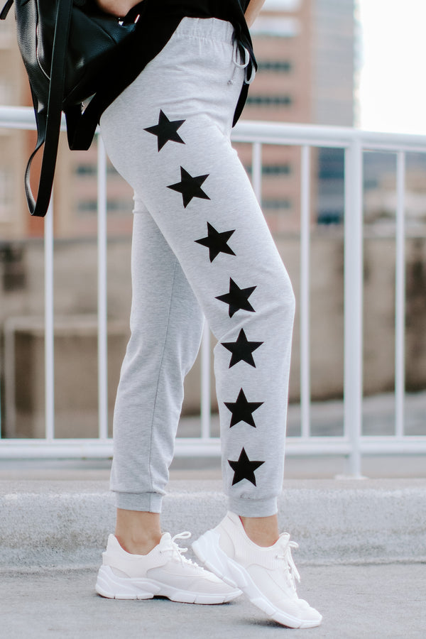 Heather Gray / S Star Shaker Printed Joggers - Heather Gray - Madison and Mallory