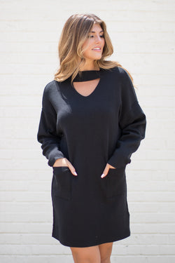 SM / Black Keyhole Neck Dress - FINAL SALE - Madison + Mallory