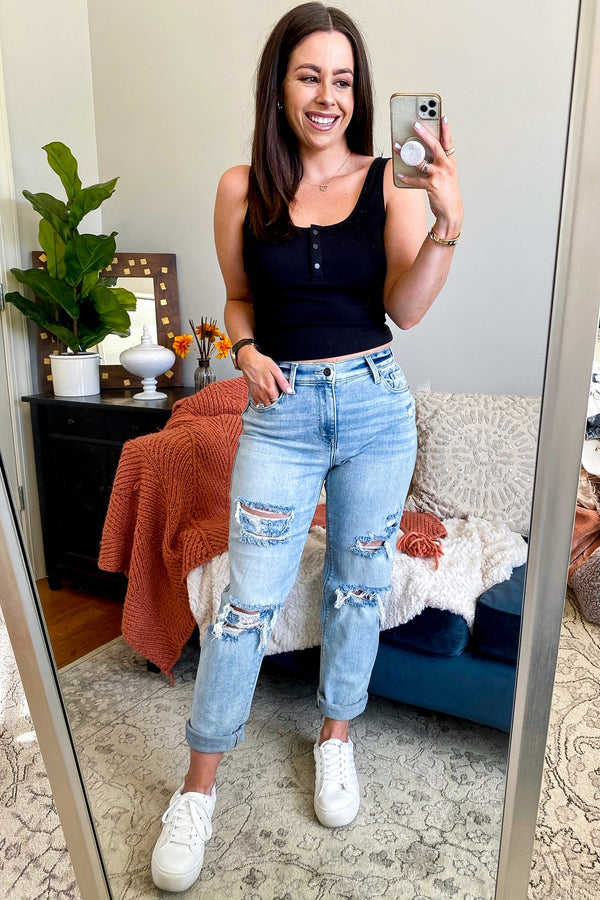 Basic Idea Distressed Boyfriend Jeans - Madison and Mallory