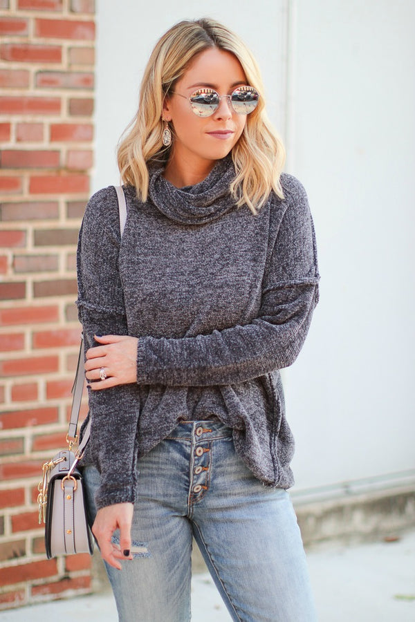 Dalena Turtle Neck Sweater - Charcoal
