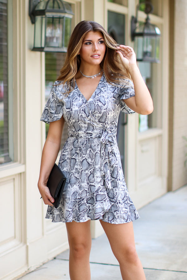 Love at Last Snake Print Wrap Dress - FINAL SALE - Madison + Mallory