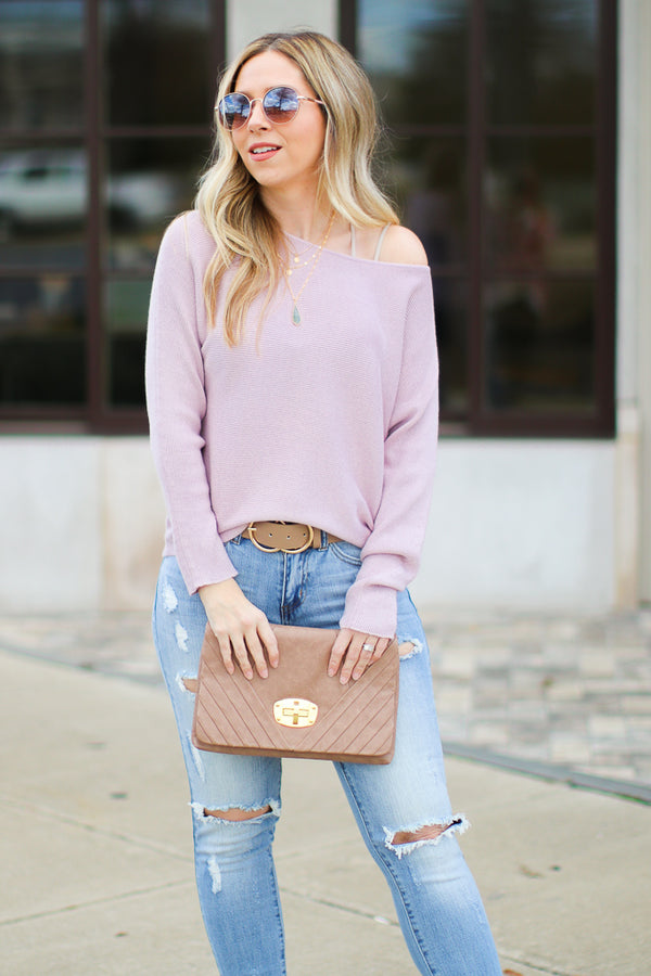 Mauve / S Mebane Ribbed Knit Dolman Top - Mauve - Madison + Mallory