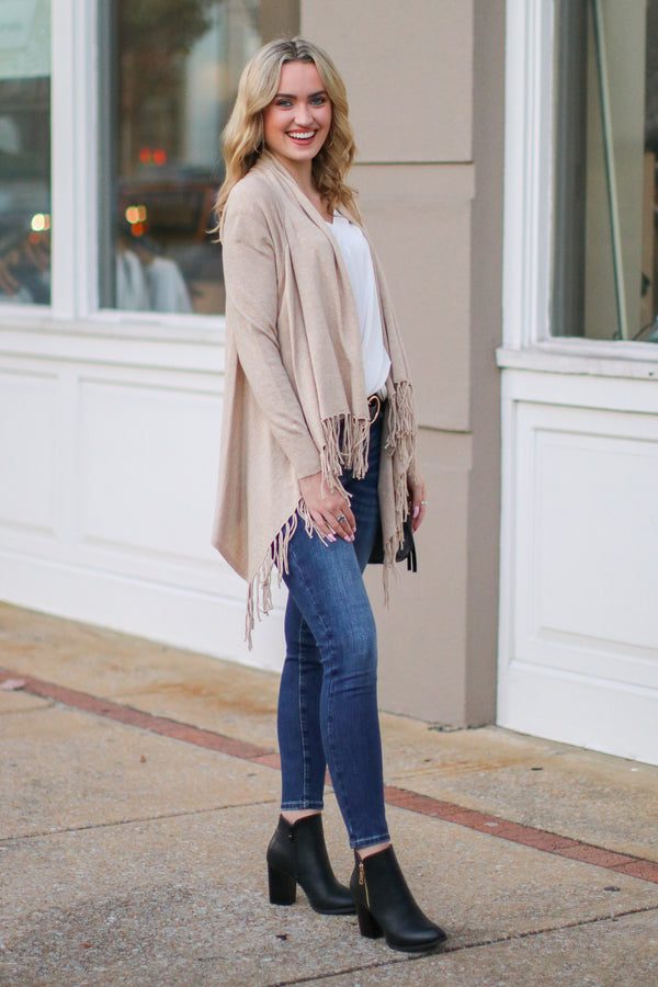 Fusion Fringe Trim Draped Cardigan - Oatmeal - Madison + Mallory