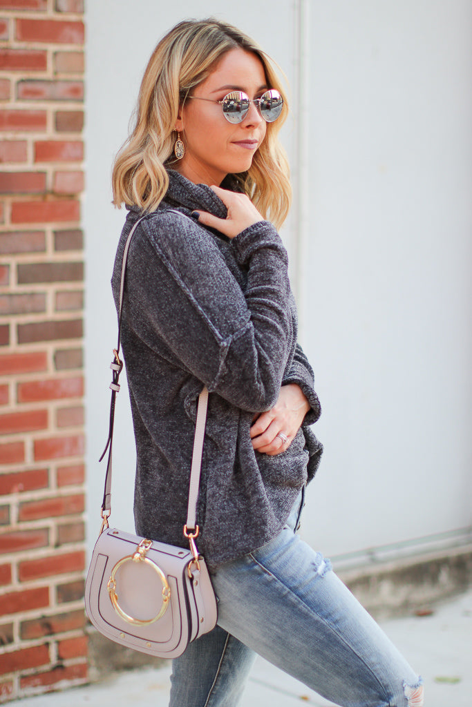 Dalena Turtle Neck Sweater - Charcoal - Madison + Mallory