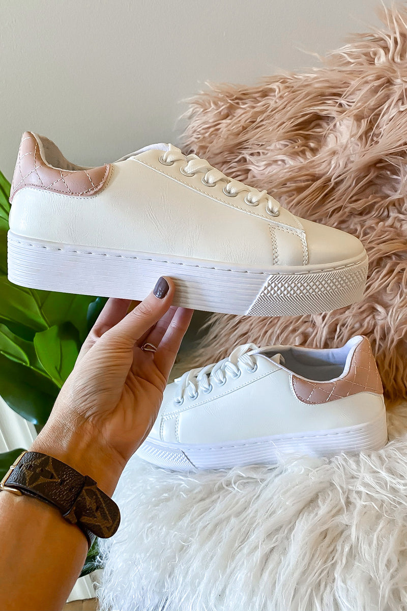 5.5 / White/Blush In the Lines Lace Up Platform Sneakers - Madison and Mallory
