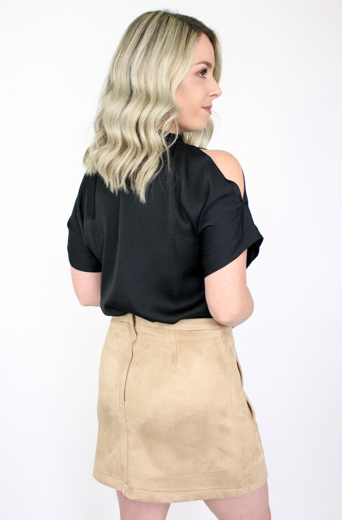 Faux Suede Button Up Skirt