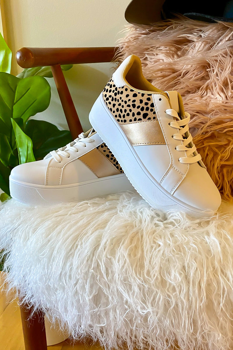 5 / White/Leopard Riza Animal Print Platform Sneakers - Madison and Mallory