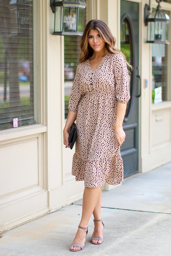 S / Taupe Slow Dance Animal Print Dress - FINAL SALE - Madison + Mallory