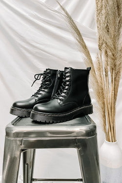 Black / 5.5 My Generation Faux Leather Combat Boots - Madison and Mallory