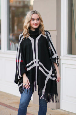 One Size / Black *DOORBUSTER* Latte Lover Plaid Poncho - Black - Madison + Mallory