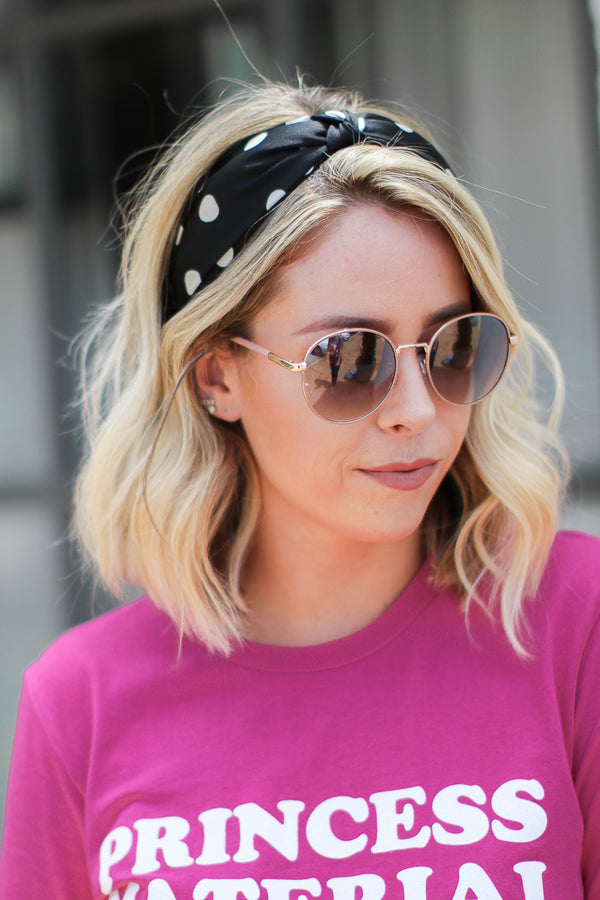 Black Knotted Up Polka Dot Headband + MORE COLORS - Madison + Mallory