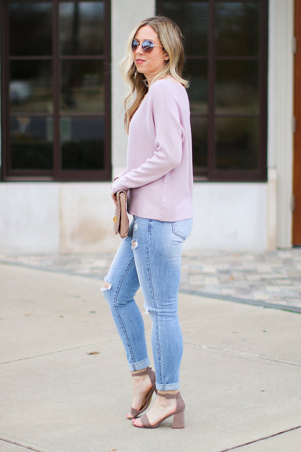 Mebane Ribbed Knit Dolman Top - Mauve - Madison + Mallory