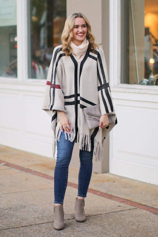 Latte Lover Plaid Poncho - Khaki - FINAL SALE - Madison and Mallory