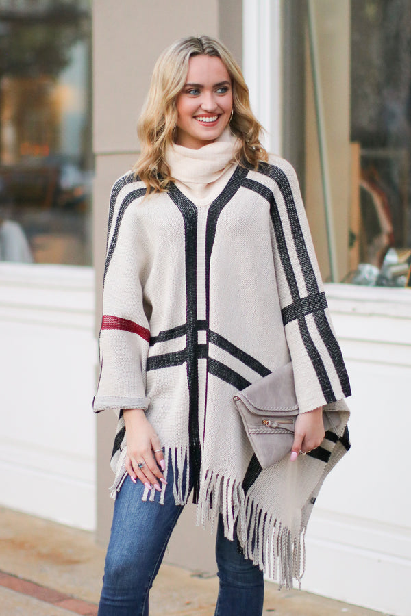 One Size / Khaki Latte Lover Plaid Poncho - Khaki - FINAL SALE - Madison and Mallory