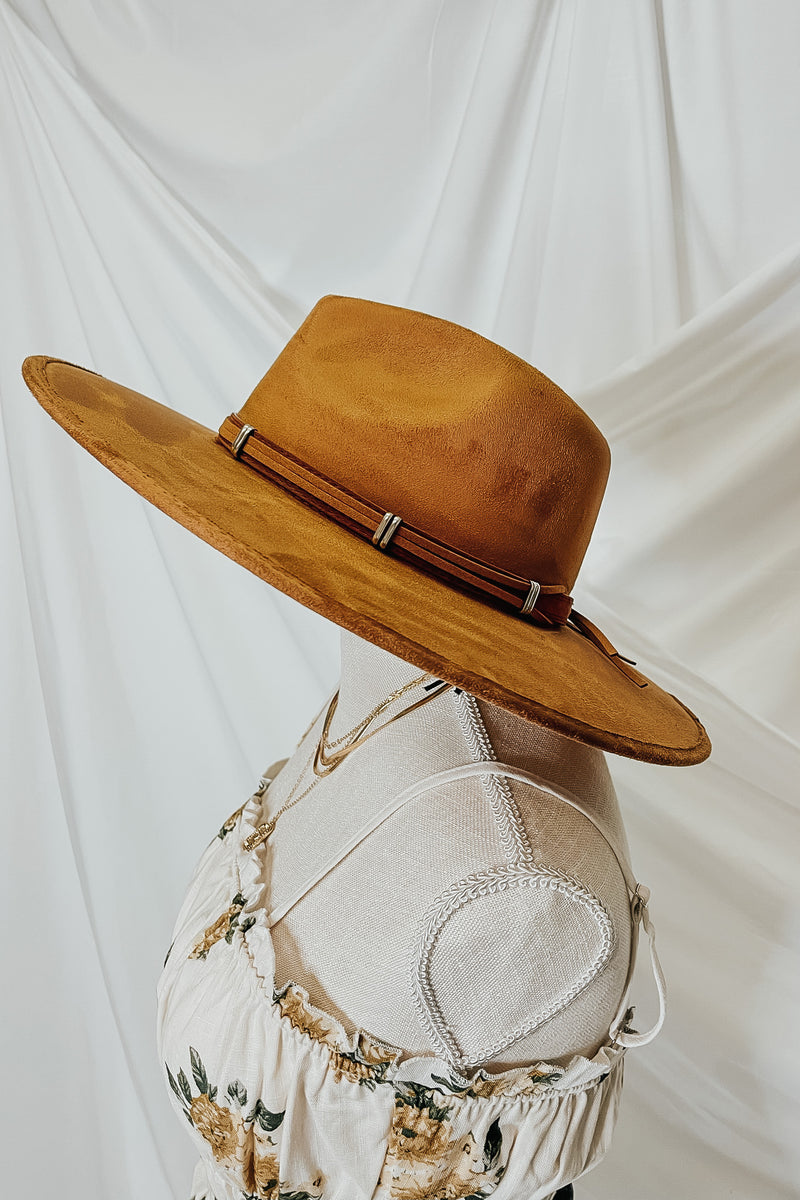 Camel Winslow Faux Leather Wide Brim Hat - Madison and Mallory