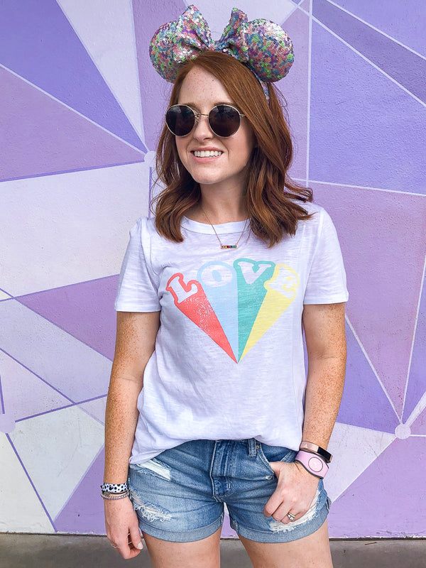S / White Vintage Love Graphic Top - Madison + Mallory