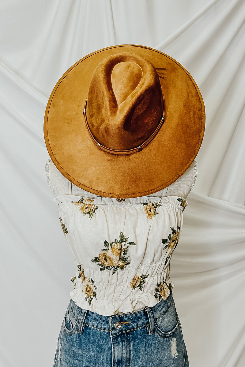 Winslow Faux Leather Wide Brim Hat - Madison and Mallory