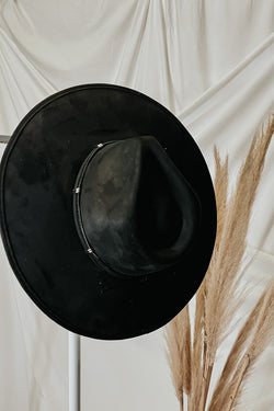 Black Winslow Faux Leather Wide Brim Hat - Madison and Mallory