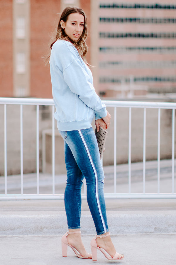 High Chance Distressed Side Tape Jeans - FINAL SALE - Madison and Mallory