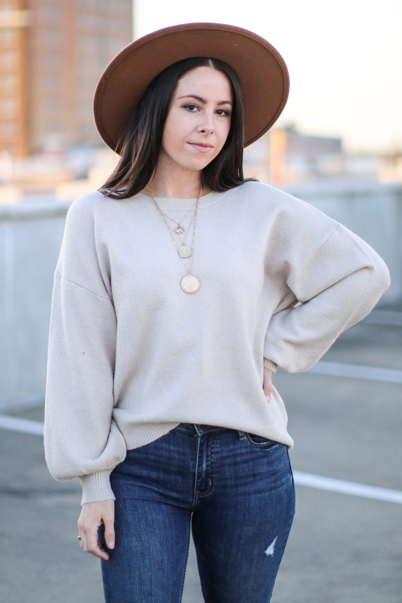 Moth Gray / S Fairlea Balloon Sleeve Sweater | Doorbuster - Madison and Mallory