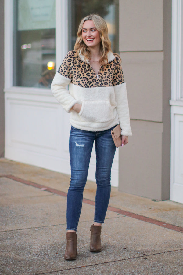 Keep Roaring Leopard Sherpa Pullover - White - Madison + Mallory