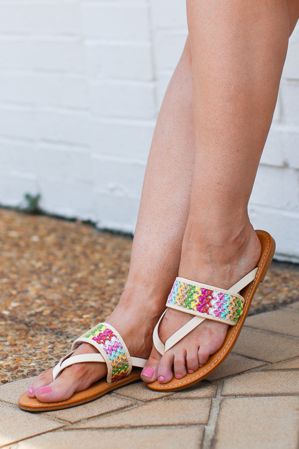 6 / Ivory Shoreline Crochet Detail Sandals - FINAL SALE - Madison + Mallory
