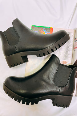 5.5 / Black Day Tripping Faux Leather Boots - Madison and Mallory