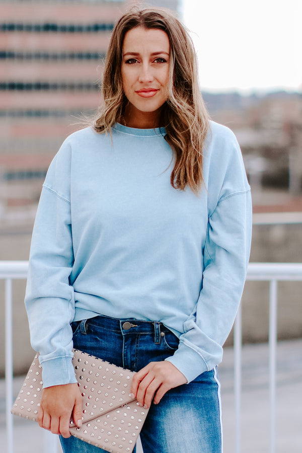 S / Blue Jojo Washed Terry Pullover - Madison and Mallory