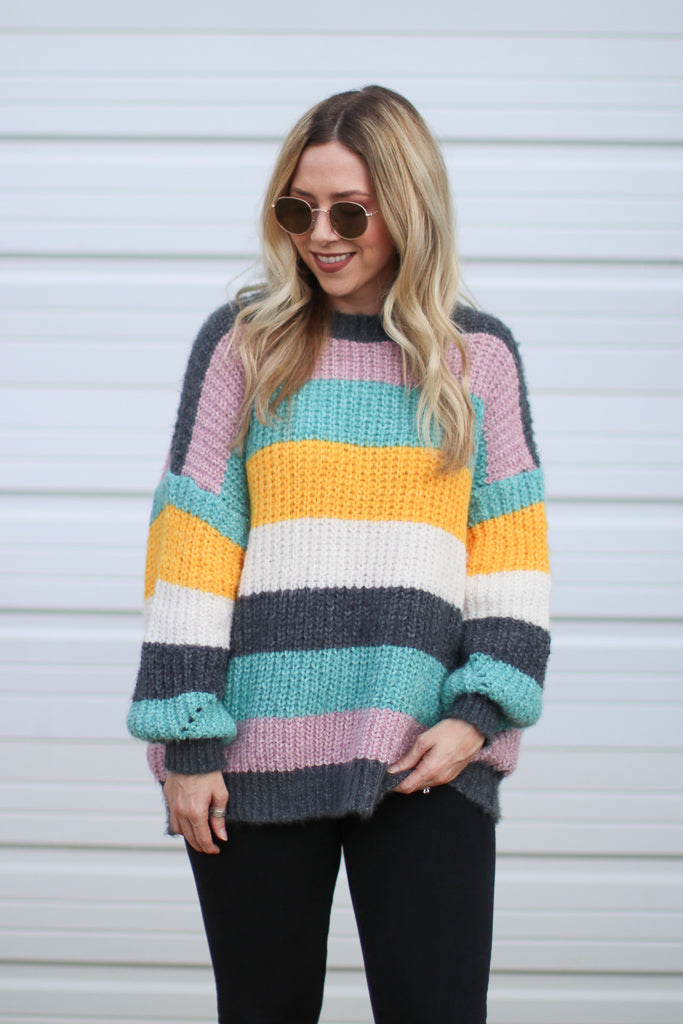 Bright Side Color Block Sweater - Madison + Mallory