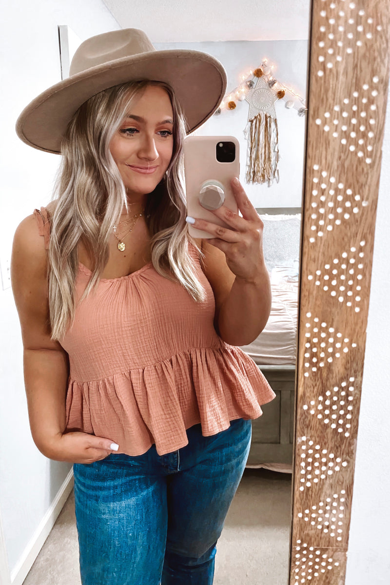 S / Blush Kelli Lace Trim Babydoll Peplum Tank - Madison and Mallory