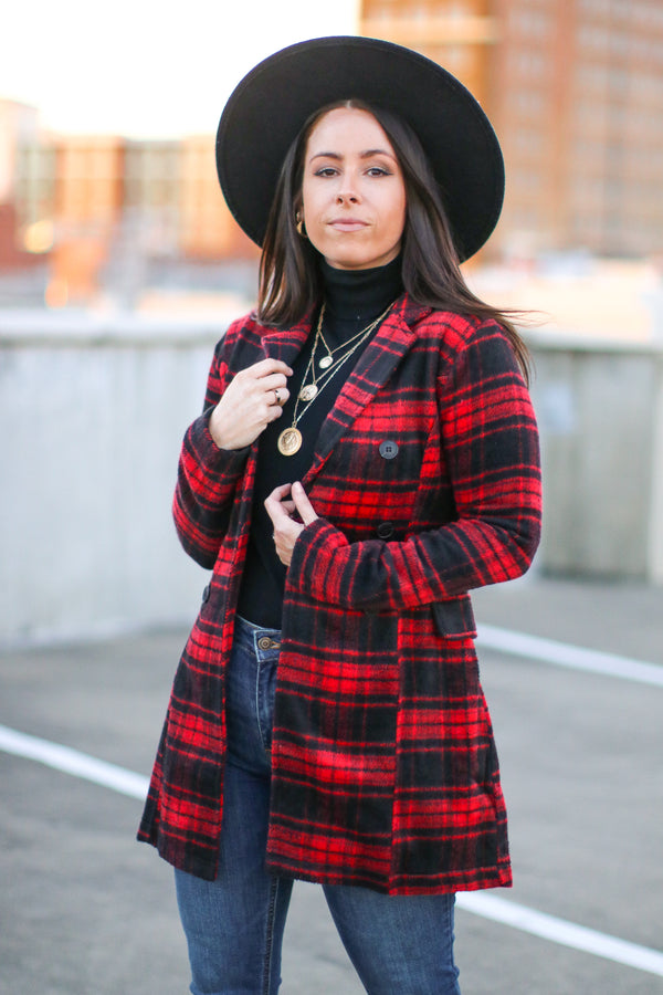 Bardstown Double Button Plaid Jacket | Doorbuster - Madison and Mallory