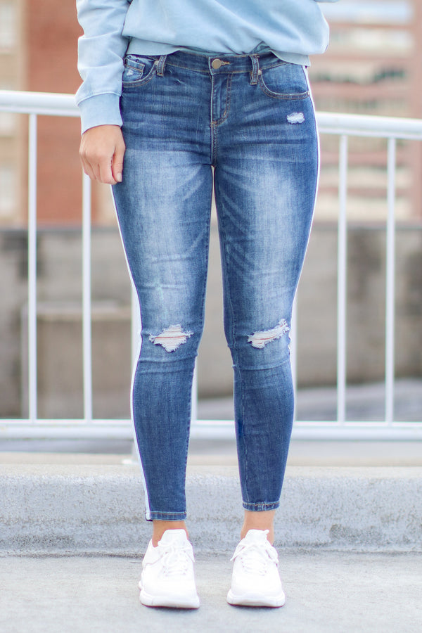 High Chance Distressed Side Tape Jeans - Madison and Mallory