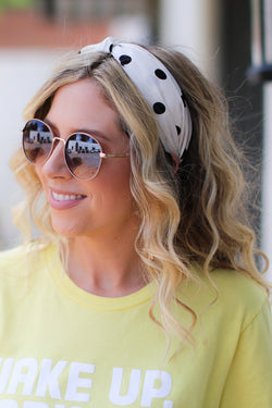 OS / Ivory Knotted Up Polka Dot Headband + MORE COLORS - Madison + Mallory