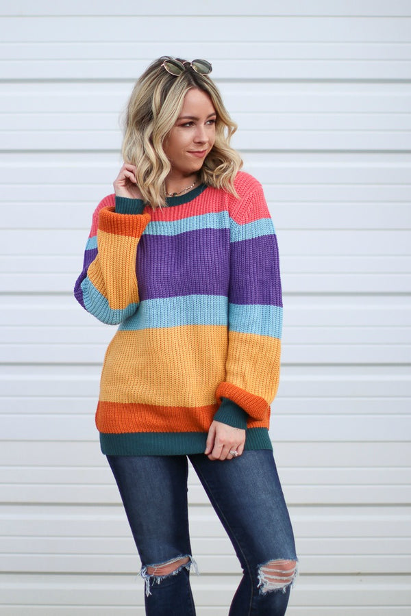 S / Multi Chasing Rainbows Sweater - Madison + Mallory