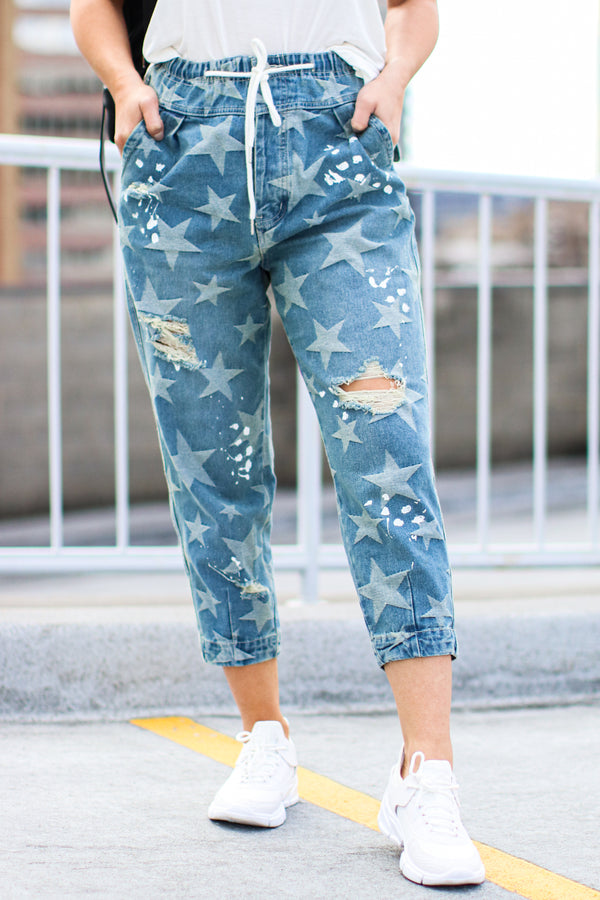 S / Blue Shoot for the Sky Star Distressed Boyfriend Jeans - Madison and Mallory