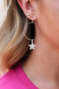 Silver Star Gazer Crystal Hoop Earrings - Madison + Mallory