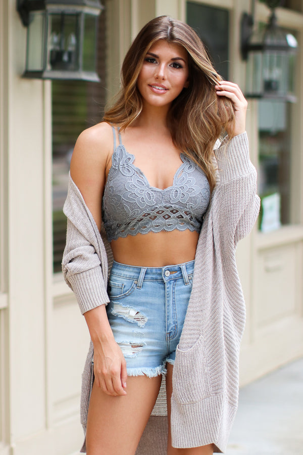 Dark Gray / S Empress Scallop Lace Bralette - Dark Gray - Madison + Mallory