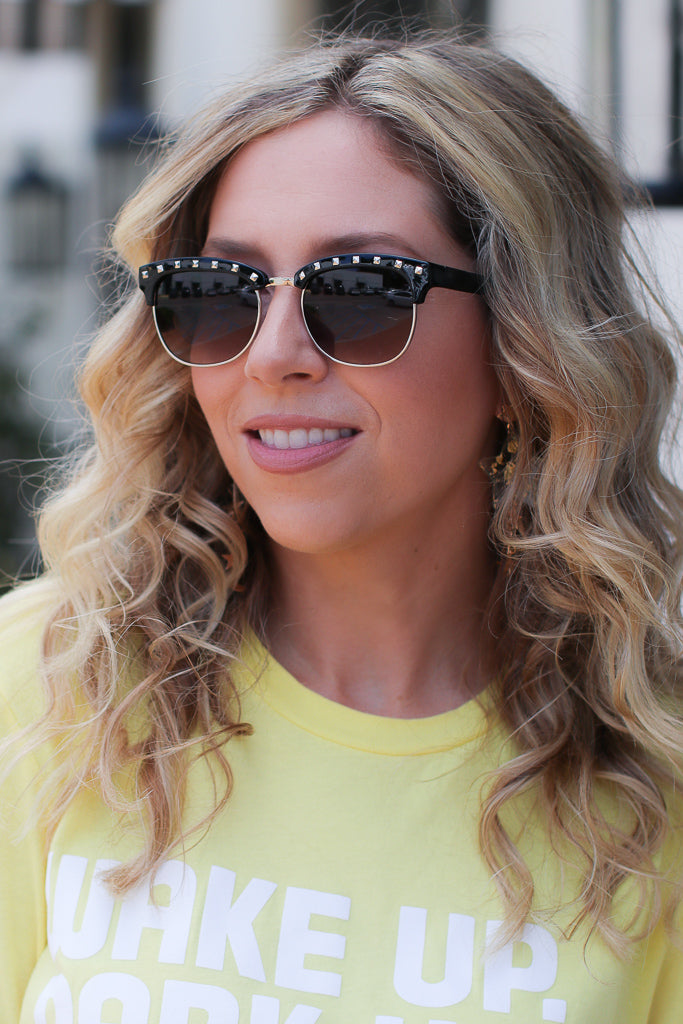 OS / Black Anniston Studded Clubmaster Sunglasses + MORE COLORS - Madison + Mallory