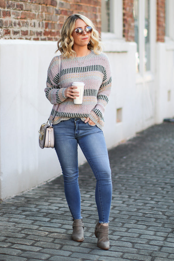 Tanner Multi Stripe Chenille Sweater - Madison + Mallory