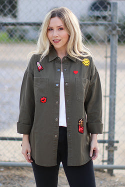 S / Olive Patched Up Jacket - Madison + Mallory