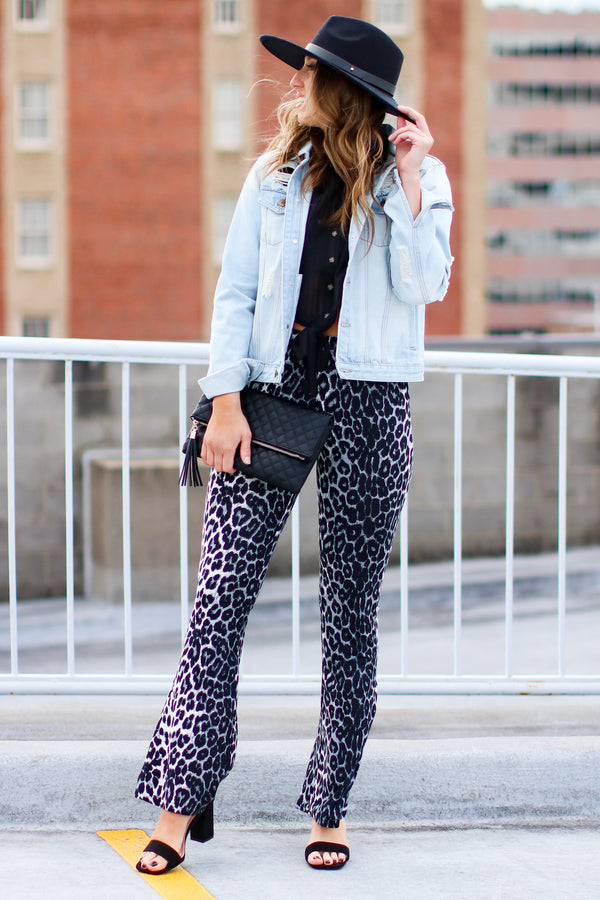 S / Black Brixley Leopard Print Flared Leggings - Madison and Mallory