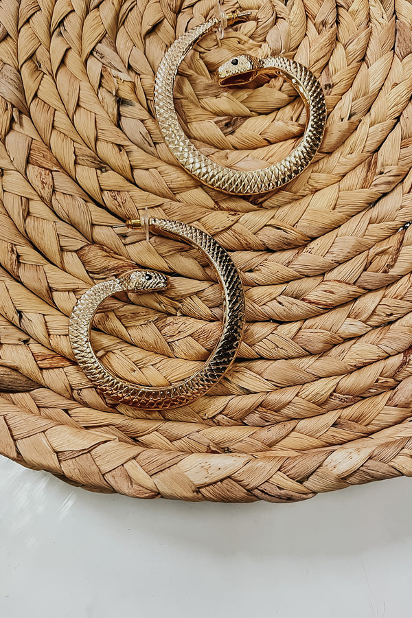 Easily Charmed Snake Hoop Earrings - Madison and Mallory