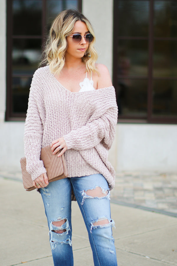 Twig / SM Aveline Popcorn Knit V-Neck Sweater - Twig - Madison + Mallory