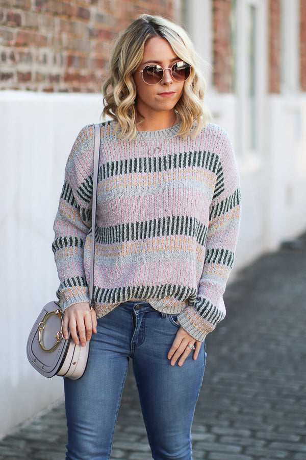 S / Mauve Tanner Multi Stripe Chenille Sweater - Madison + Mallory