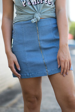S / Denim Zipper Detail Denim Skirt - Madison + Mallory