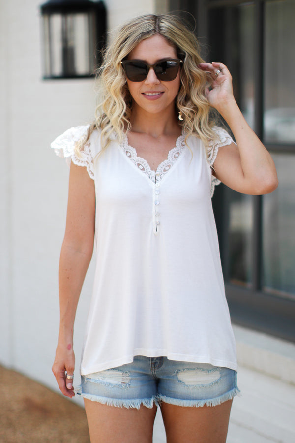 Sibyl Lace Cap Sleeve Top - White | CURVE - Madison + Mallory