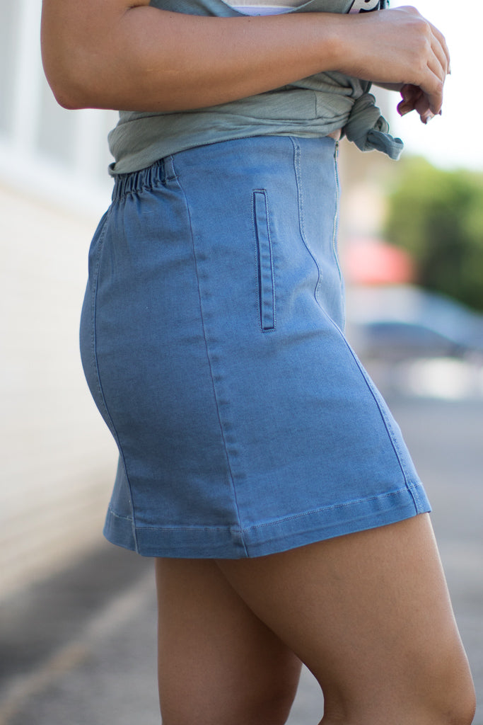 Zipper Detail Denim Skirt - Madison + Mallory