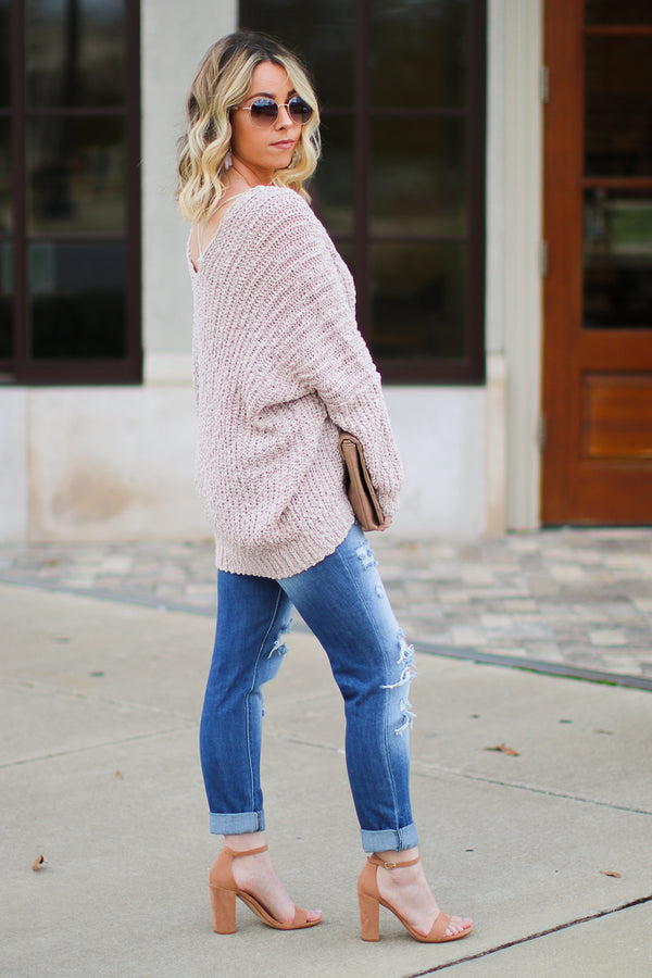 Aveline Popcorn Knit V-Neck Sweater - Twig - Madison + Mallory